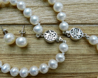 Classic Set of 7-8mm Cultured Pearls (Necklace Bracelet and Earrings)-Handmade in Charleston SC