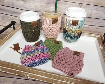 Crochet cup cozy- reusable cup cozy- cotton cozy- coffee cup cozy- 18 color choices