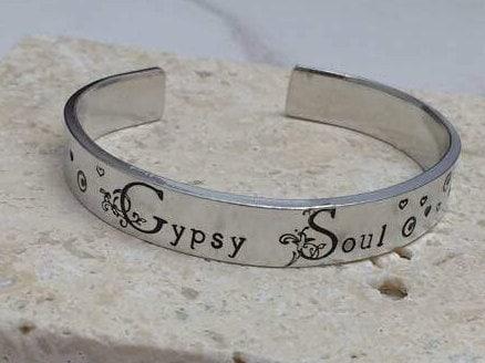 Gypsy Soul pretty floral font boho hippy hearts 12mm cuff bracelet, handstamped