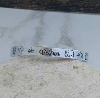 Girly vegan bracelet bangle - adjustable - handstamped - animals
