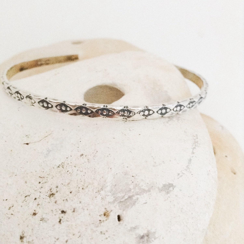Sterling silver cuff bracelet - cuff bangle - hand patterned - hallmarked
