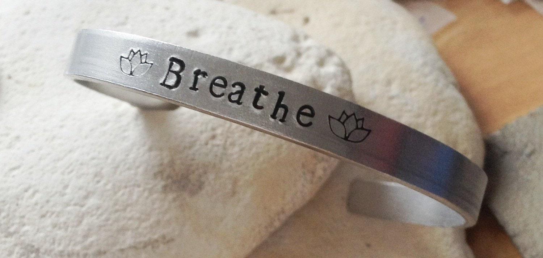 Breathe meditation motto bracelet with lotus flower adjustable -handstamped