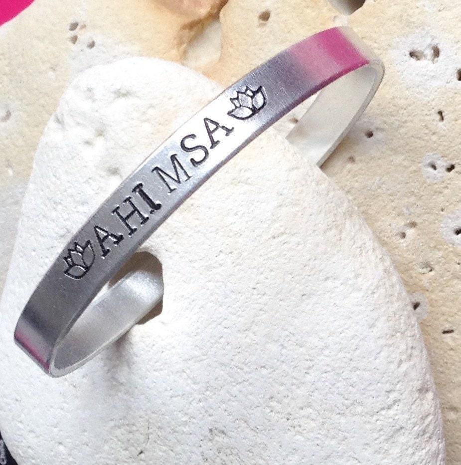 Ahimsa lotus flower motto bracelet - adjustable -handstamped - vegan - sanskrit - not to injure