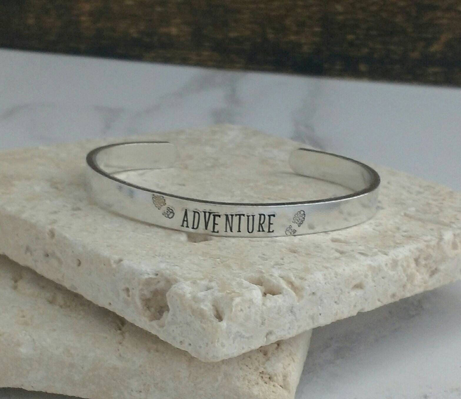 Adventure hiking bracelet  - travel - walking jewellery - adjustable - handstamped - unisex