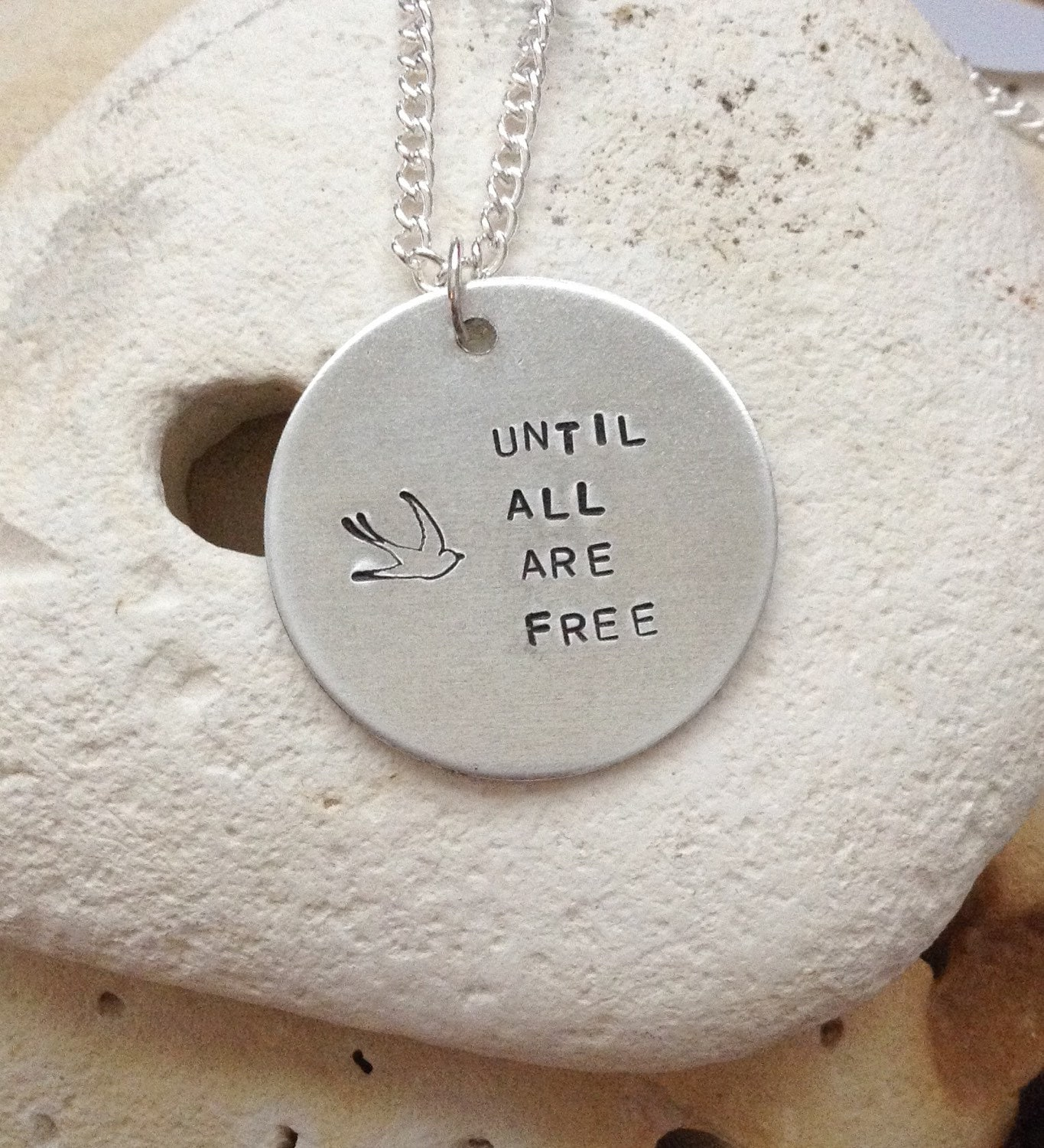 Vegan message necklace - vegan jewellery - jewelry - until all are free - animal rights jewellery - handstamped pendant