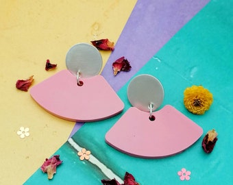 Contemporary Statement Fan Resin and Silver Earrings