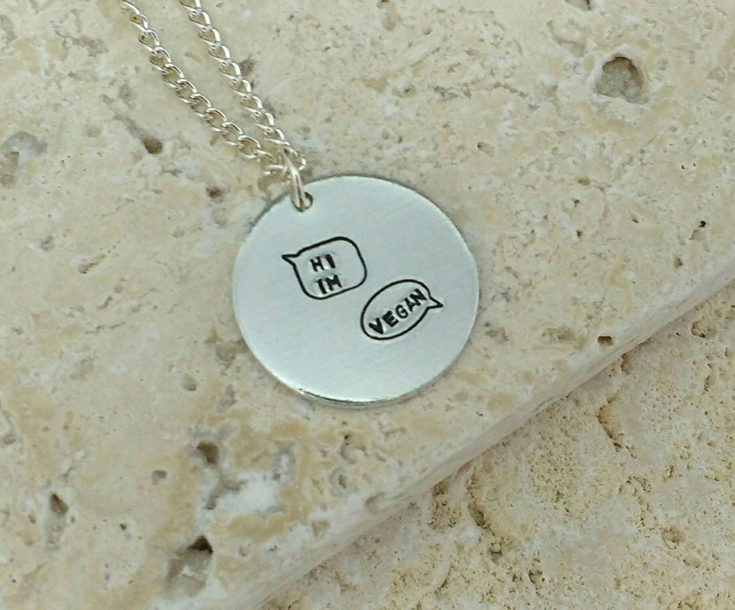 Cute Hi I'm Vegan in speech bubbles necklace - vegan jewellery - Handstamped vegan animal rights necklace on 18