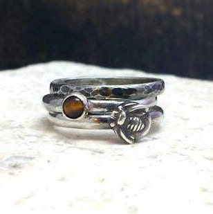 Stacking rings, sterling silver stacking rings, bee ring, tiger eye ring