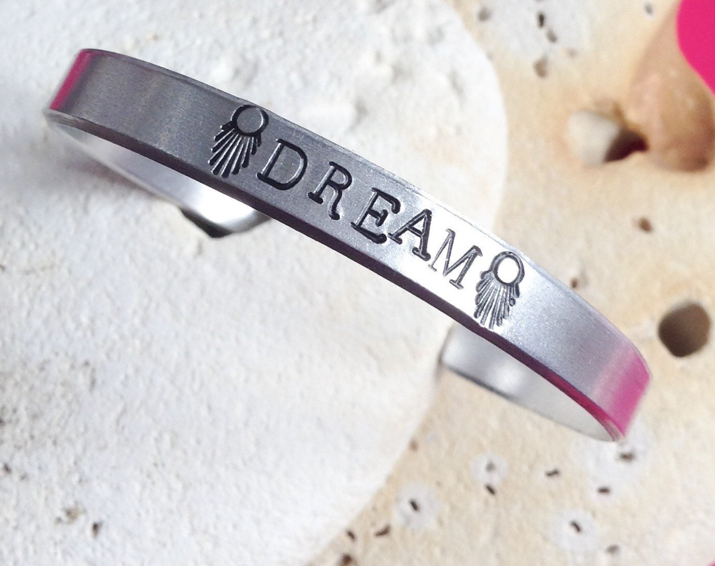 Dream motto bracelet - adjustable - handstamped