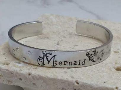 Mermaid pretty floral font boho hippy 12mm cuff bracelet, handstamped