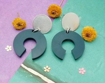 Contemporary Statement Round Arc Resin and Silver Earrings