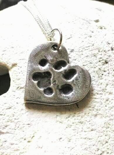 Dog cat heart custom paw print necklace - handmade pendant from your pets print - animal lover gift - pet memorial jewellery