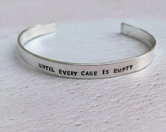 Until Every Cage Is Empty Vegan Bracelet
