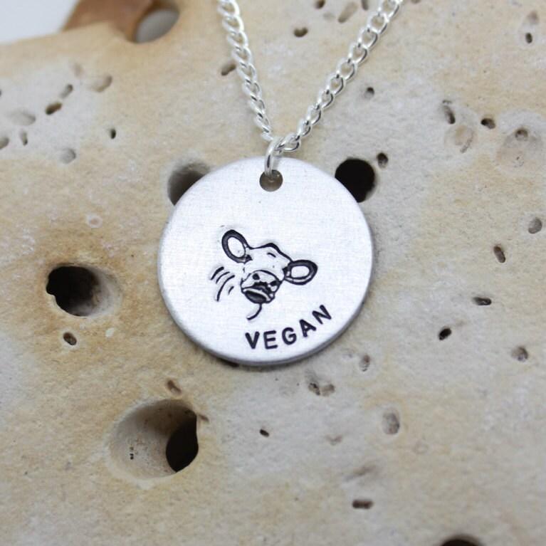 Vegan Cow Calf hand stamped necklace - exclusive design