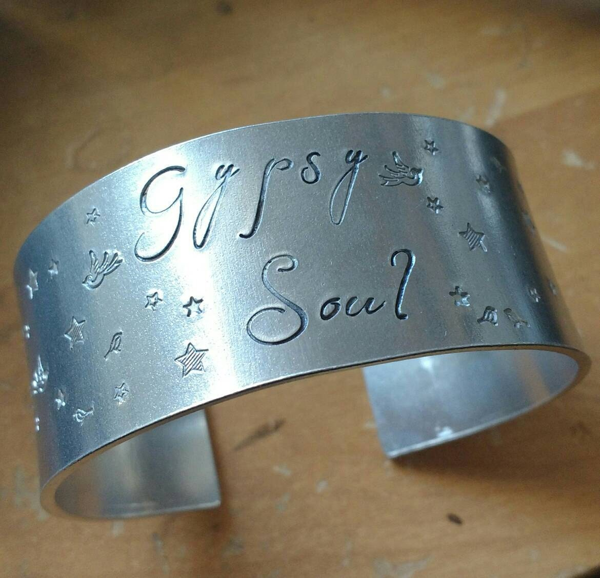 Large gypsy soul cuff bracelet - vegan bangle - 25mm wide - handstamped with bird and star pattern