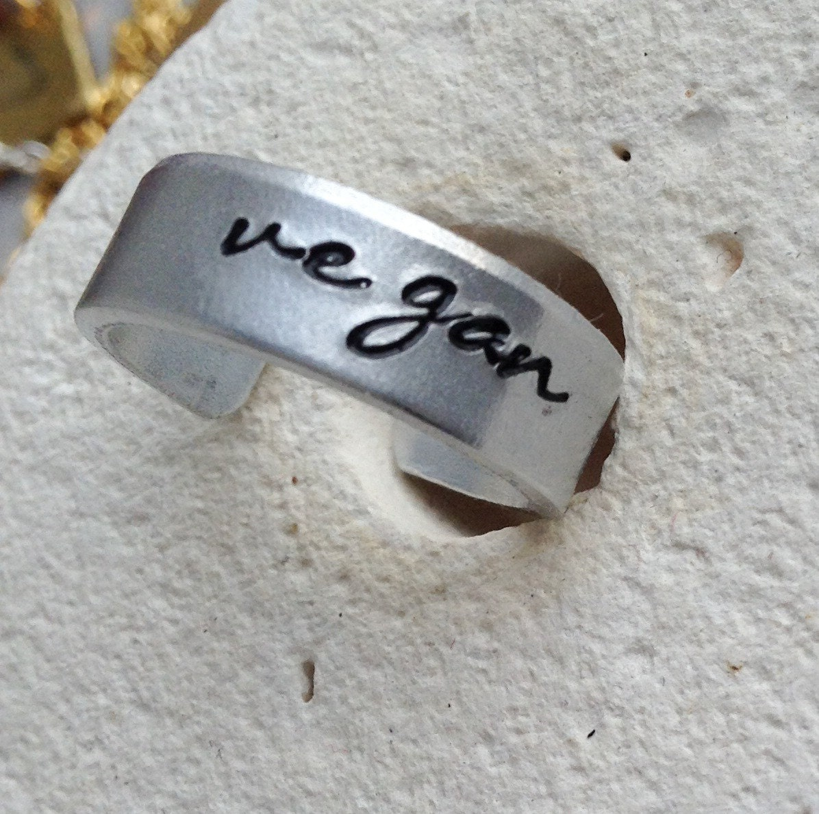 Vegan cuff ring - vegan jewellery - vegan jewelry - unisex vegan - for her - handstamped ring -  small medium and large.