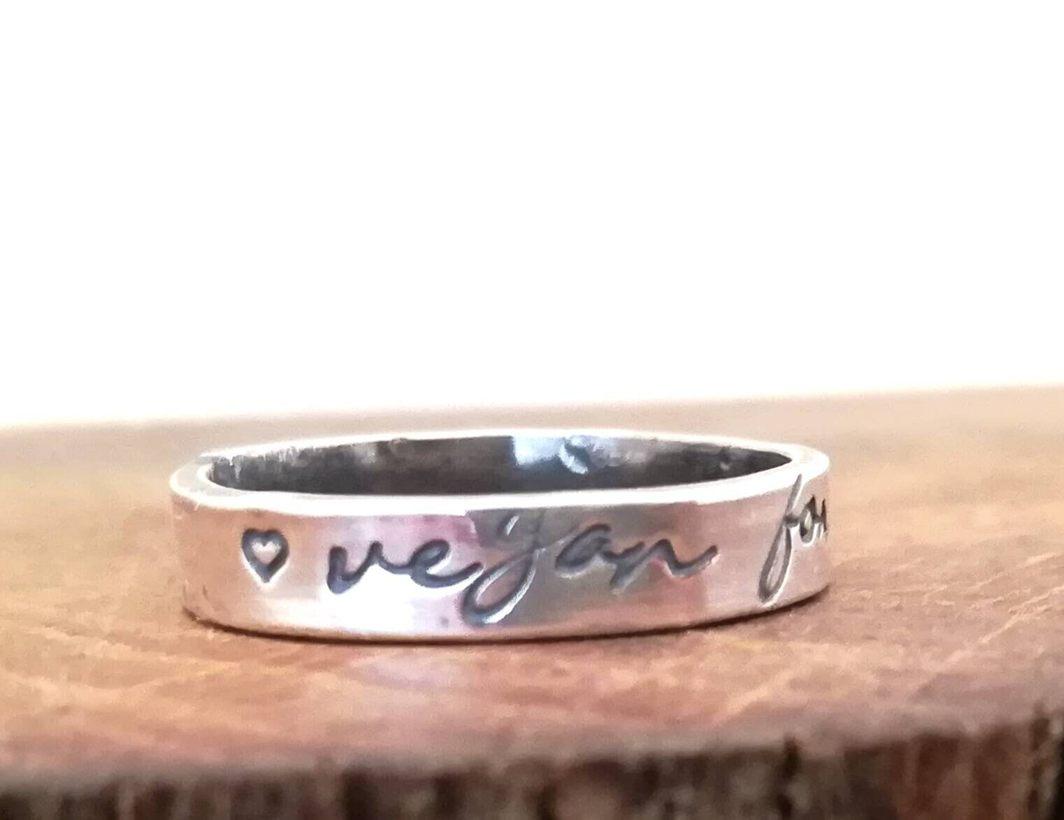 Vegan for life sterling silver handstamped ring. Band ring, word ring, alternative wedding ring