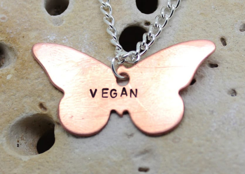Vegan butterfly necklace. Copper butterfly with handstamped
