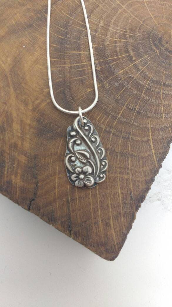 Leaves and flower pendant, unusual shaped necklace on 18