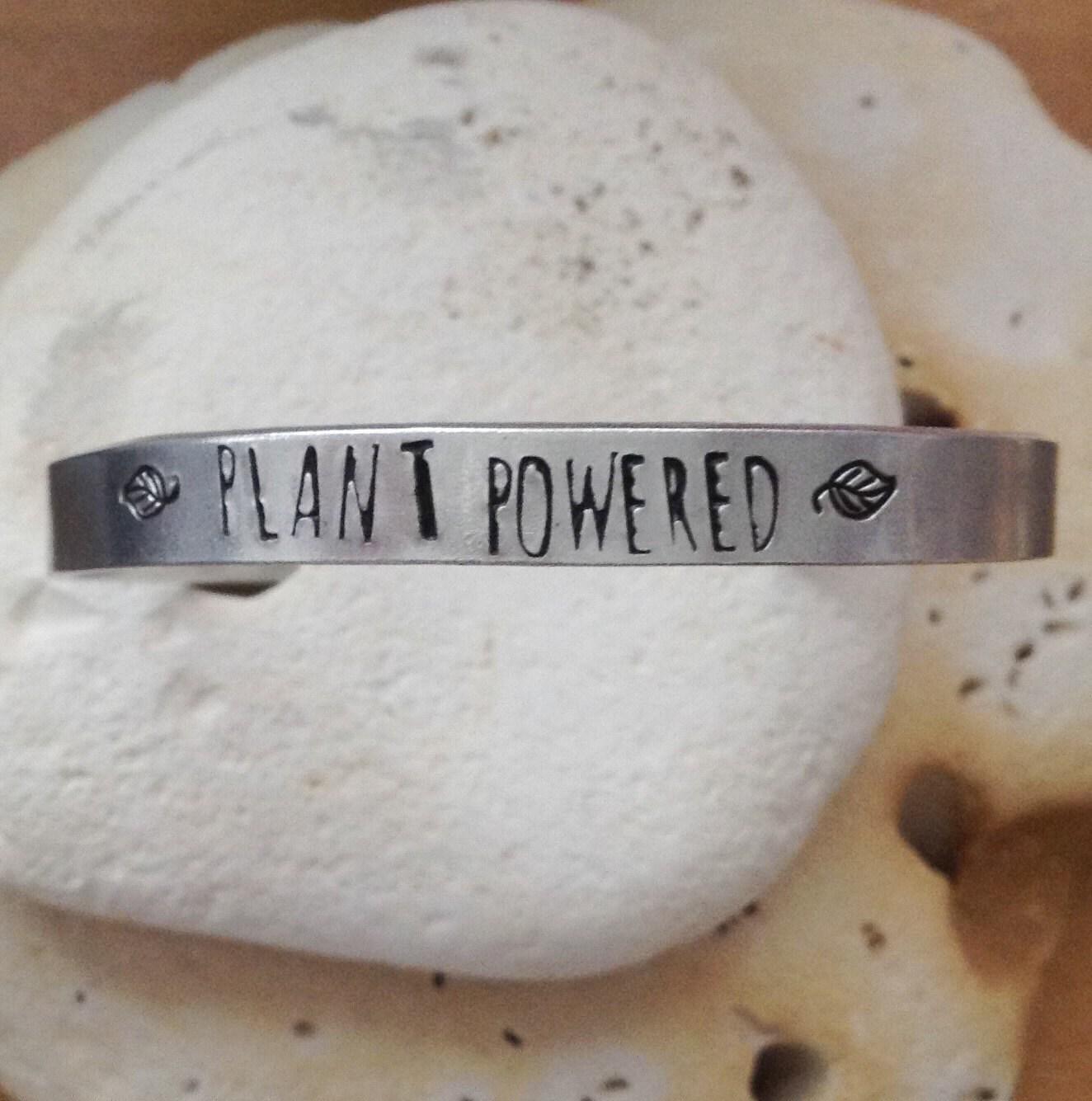 plant powered vegan bracelet - leaf design - adjustable - handstamped - unisex