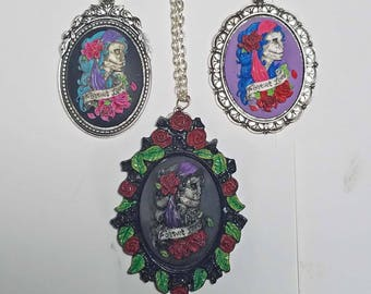 Painted Cameo Necklace - Cameo Necklace - Gypsy Skull