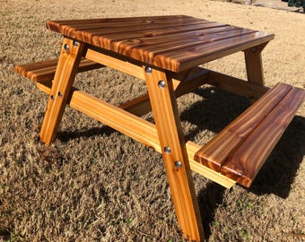 Hand Crafted Kids Cedar Picnic Table With Detachable Legs For Storing