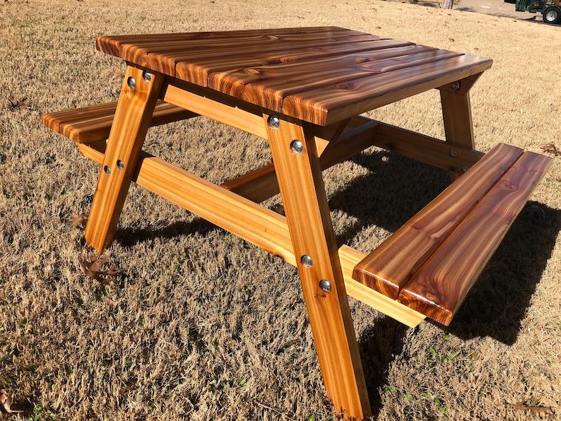 Pleasant Hand Crafted Kids Cedar Picnic Table With Detachable Legs For Storing Creativecarmelina Interior Chair Design Creativecarmelinacom