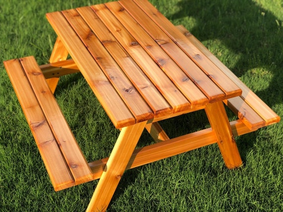 Sensational Hand Crafted Kids Cedar Picnic Table New And Improved Creativecarmelina Interior Chair Design Creativecarmelinacom