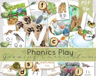 Phonics Play Set (alphabet growing curriculum) | Phonics Activities | Teaching Letter Sounds | INSTANT DOWNLOAD