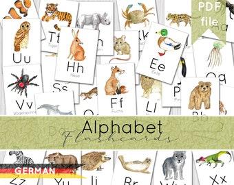 DEUTSCHE | Alphabet Flashcards | Printable German Flashcards | INSTANT DOWNLOAD