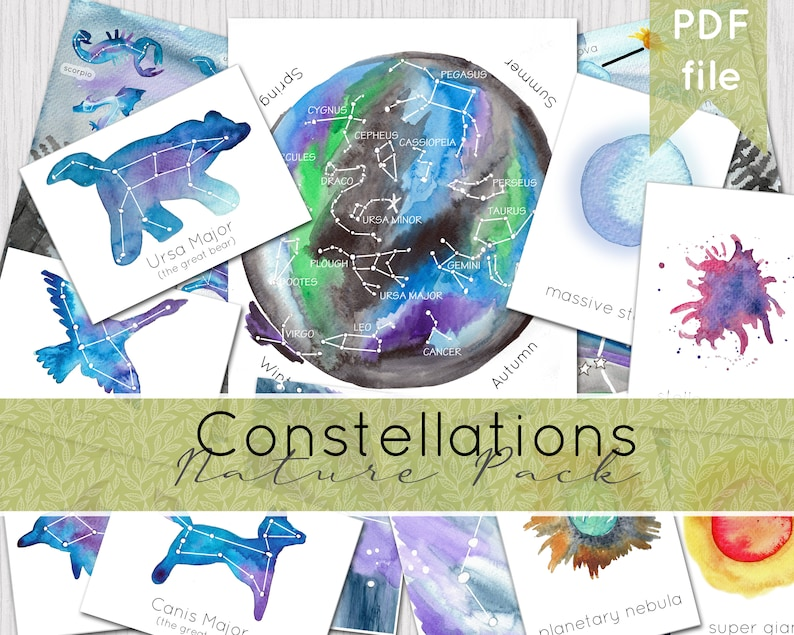 Constellations Nature Pack  Watercolour Nature Journaling  image 0