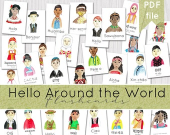 Hello Around the World Flashcards | Multicultural Language Resources | INSTANT DOWNLOAD