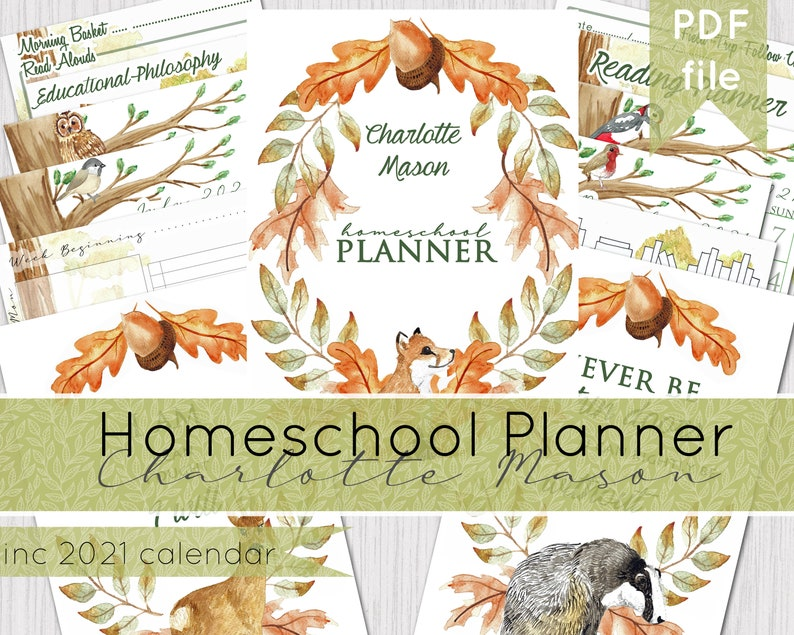 Charlotte Mason Inspired Home School Planner  Printable image 0