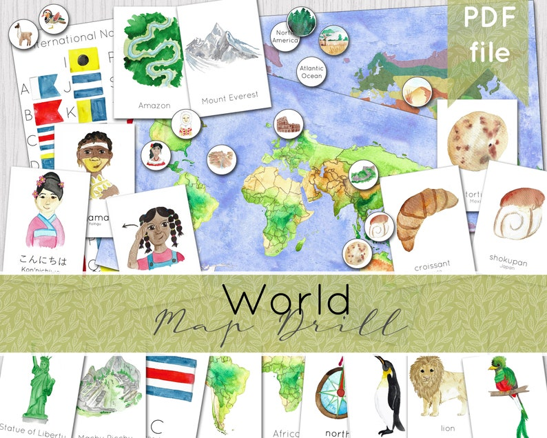 World Mapping Pack  Geography Map Drill  Continents Biomes image 0