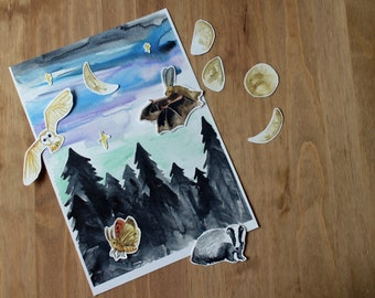 Night Sky Journalling Pack   Night over the Forest   Lunar Log Journaling Page