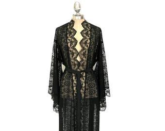 85dce2baea Black lace kimono
