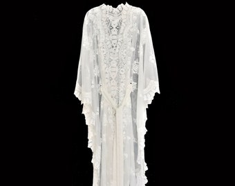 White Lace Crochet Kaftan Top Cotton Cover up Fancy Sheer Bridal Wedding Blouse