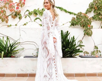 b7c7808a76987 boho wedding dress, wedding dress, lace wedding dress, caftan wedding dress,  kimono robe, lace robe, brides lace robe, wedding dresses