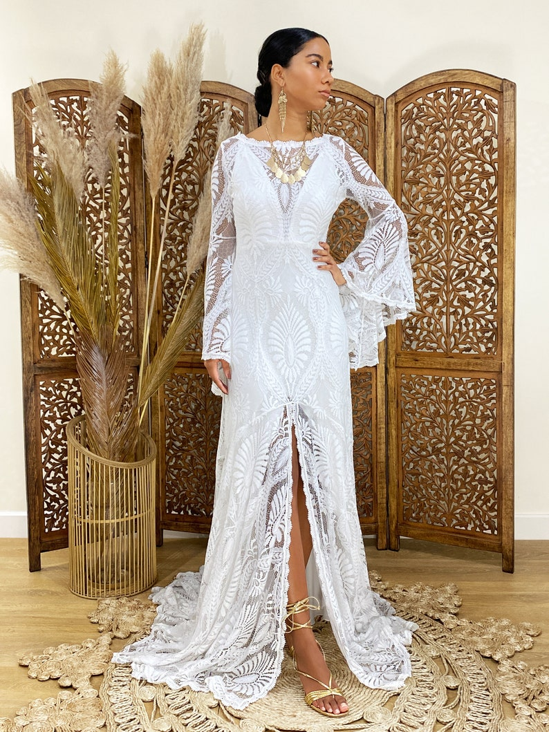 wedding dresses lace wedding dress boho kimono dress boho image 0