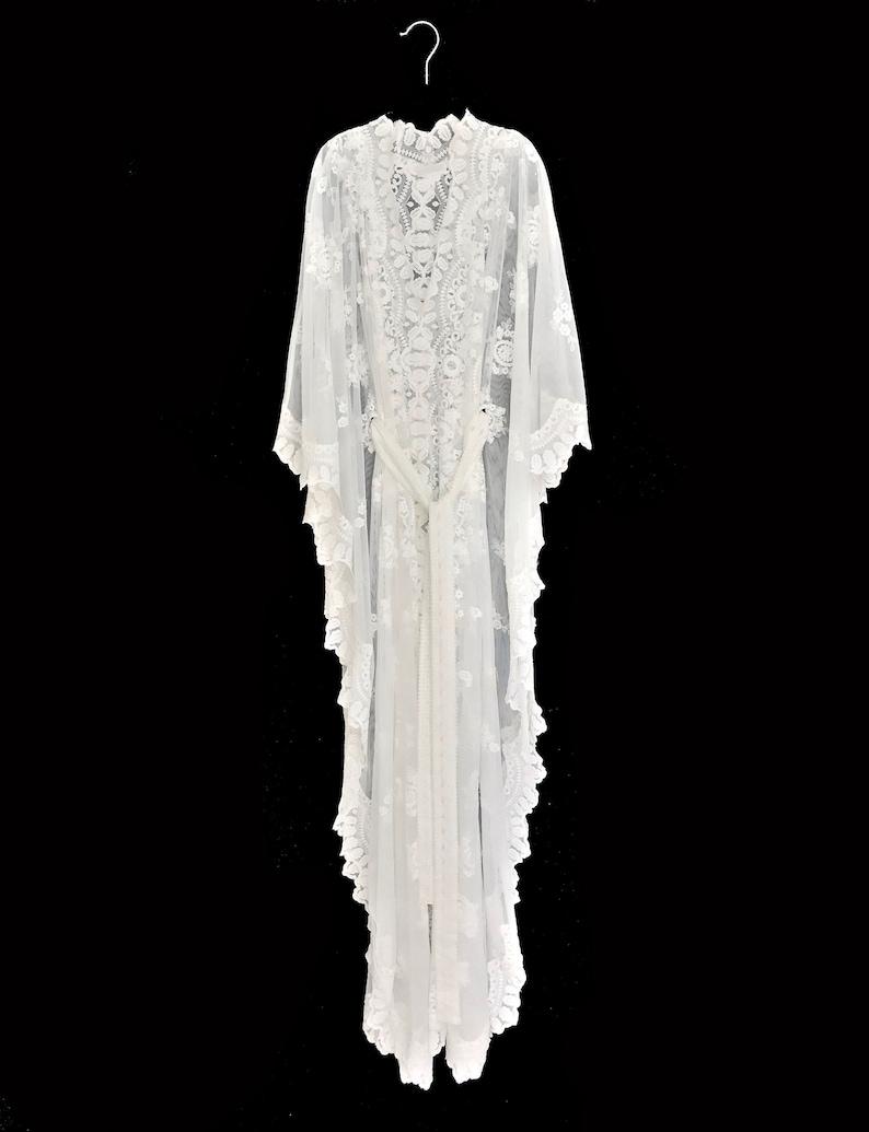1fbae745ad Lace kaftan dress white lace kaftan brides lace robe beach   Etsy