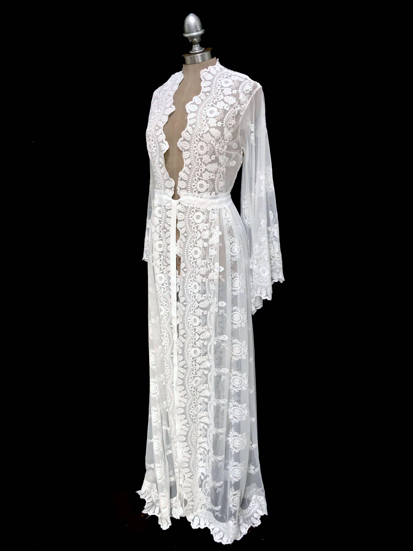 3144918194a Lace kimono robe wedding lace robes bride robe wedding day