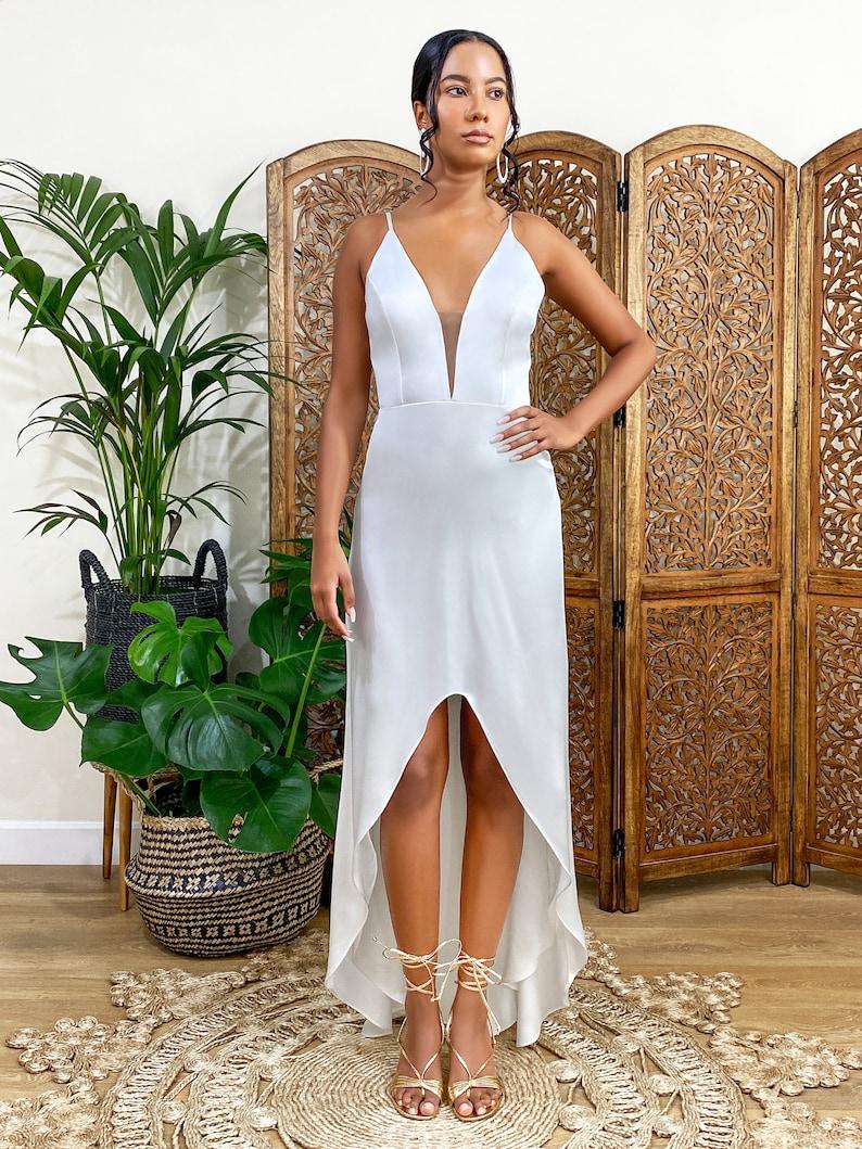 wedding dresses slip wedding dress boho wedding dress STYLE 3 IVORY SATIN