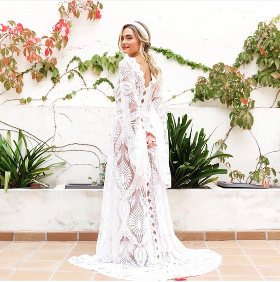 Boho Wedding Dress Wedding Dress Lace Wedding Dress Caftan Etsy