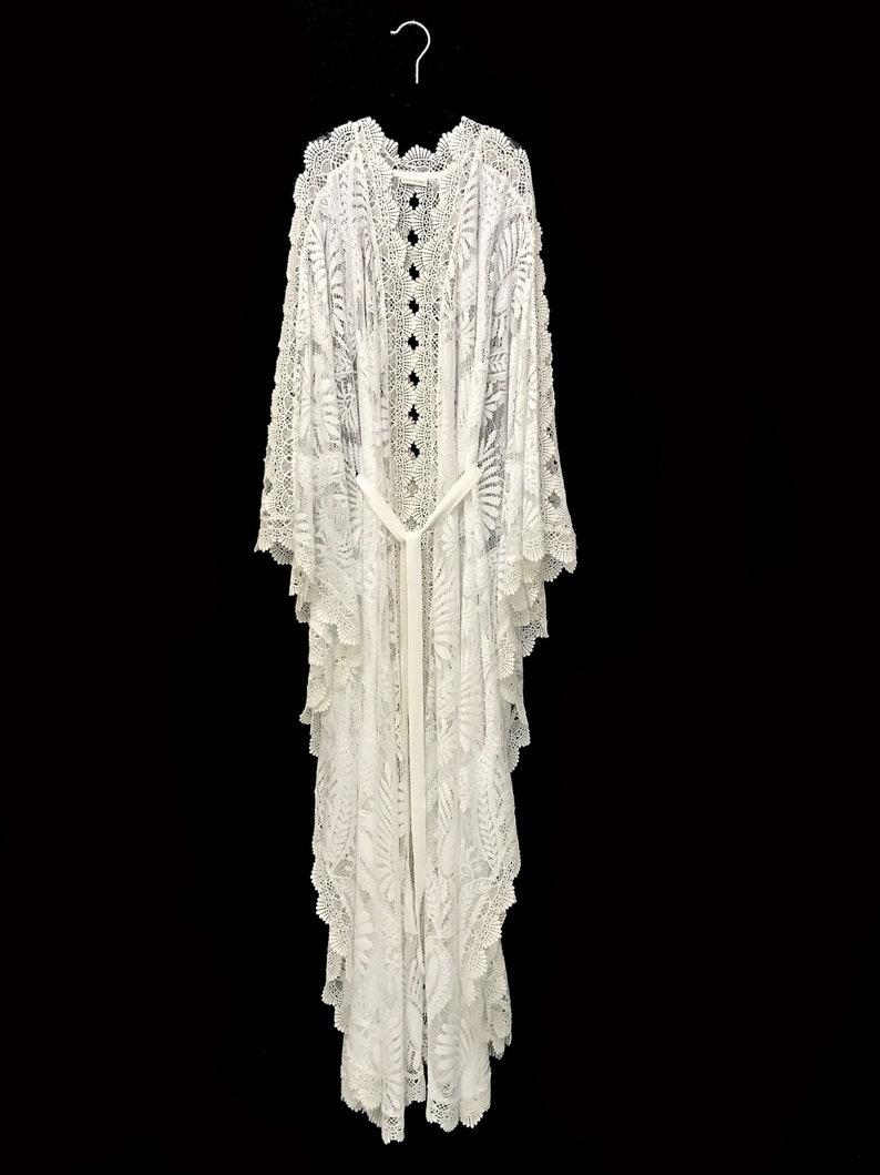 da254f216610e Lace kaftan white lace kaftan brides lace robe beach cover | Etsy