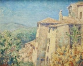 Leopold DeMoor (1876-1966) Chateau in France c. 1930 Belgian Impressionist Painter European Oil Painting