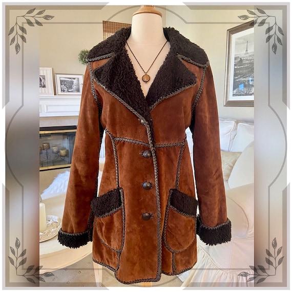 Vintage Chocolate Brown Suede Leather Coat