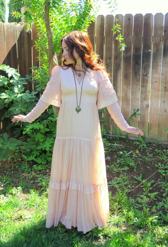 Vintage 70's Bohemian Goddess Wedding Maxi Dress-G