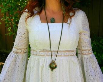 Vintage 1970s Lace Cut Out Angel Sleeve Bohemian Wedding Dress