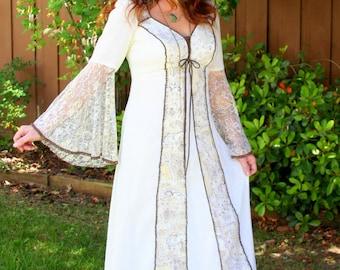 Vintage 70s Bohemian Hippie Goddess Corset Wedding Maxi Dress
