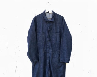 ebc5eb87d3cd 1950s Denim Coveralls Workwear Dark Wash Vintage 40s 50s Mechanic Work Wear